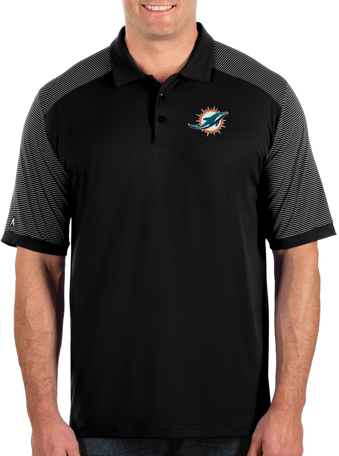 Antigua Men's Miami Dolphins Engage Performance Black Polo