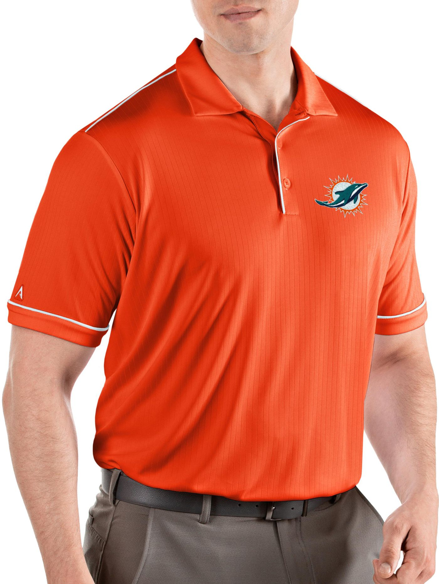 Antigua Men's Miami Dolphins Salute Orange Polo
