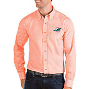 Antigua Men's Miami Dolphins Structure Button Down Orange Dress Shirt