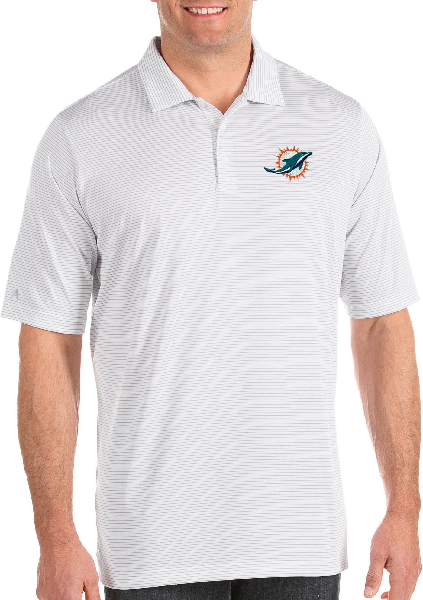 Antigua Men's Miami Dolphins Quest White Polo