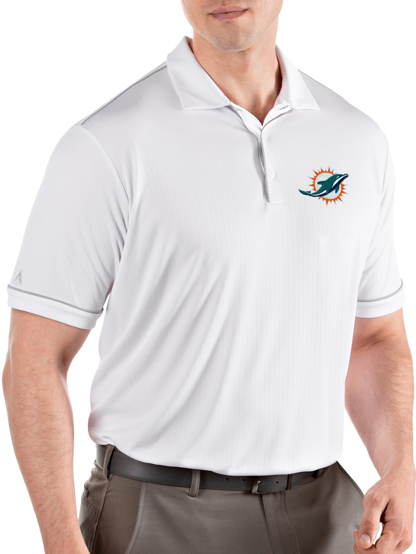 Antigua Men's Miami Dolphins Salute White Polo