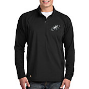 Antigua Men's Philadelphia Eagles Sonar Black Quarter-Zip Pullover