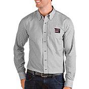 Antigua Men's New York Giants Structure Button Down Grey Dress Shirt