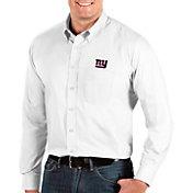 Antigua Men's New York Giants Dynasty Button Down White Dress Shirt