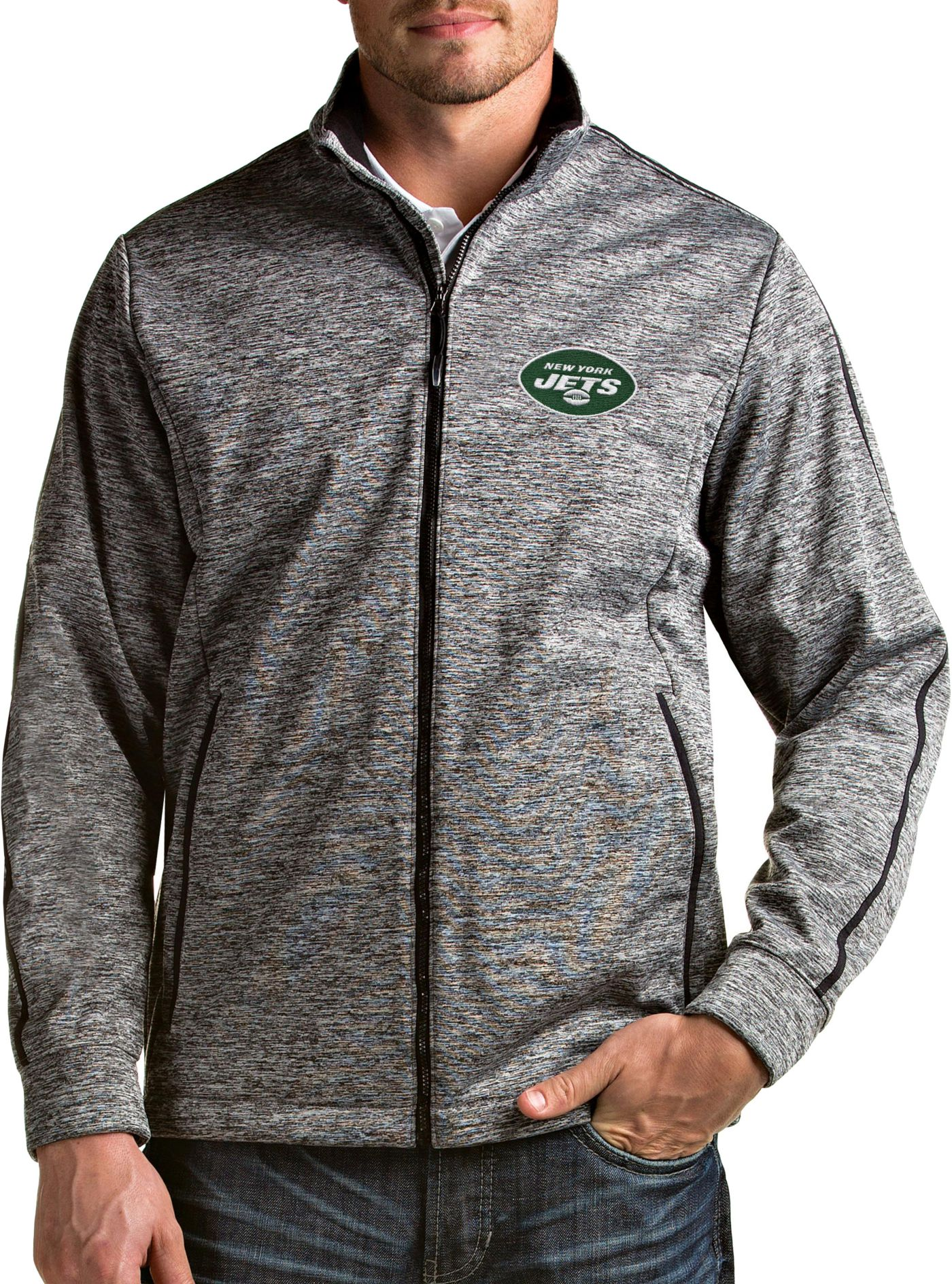 Antigua Men's New York Jets Golf Black Full-Zip Jacket