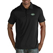 Antigua Men's New York Jets Quest Black Polo