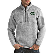Antigua Men's New York Jets Fortune Heather Grey Pullover Jacket