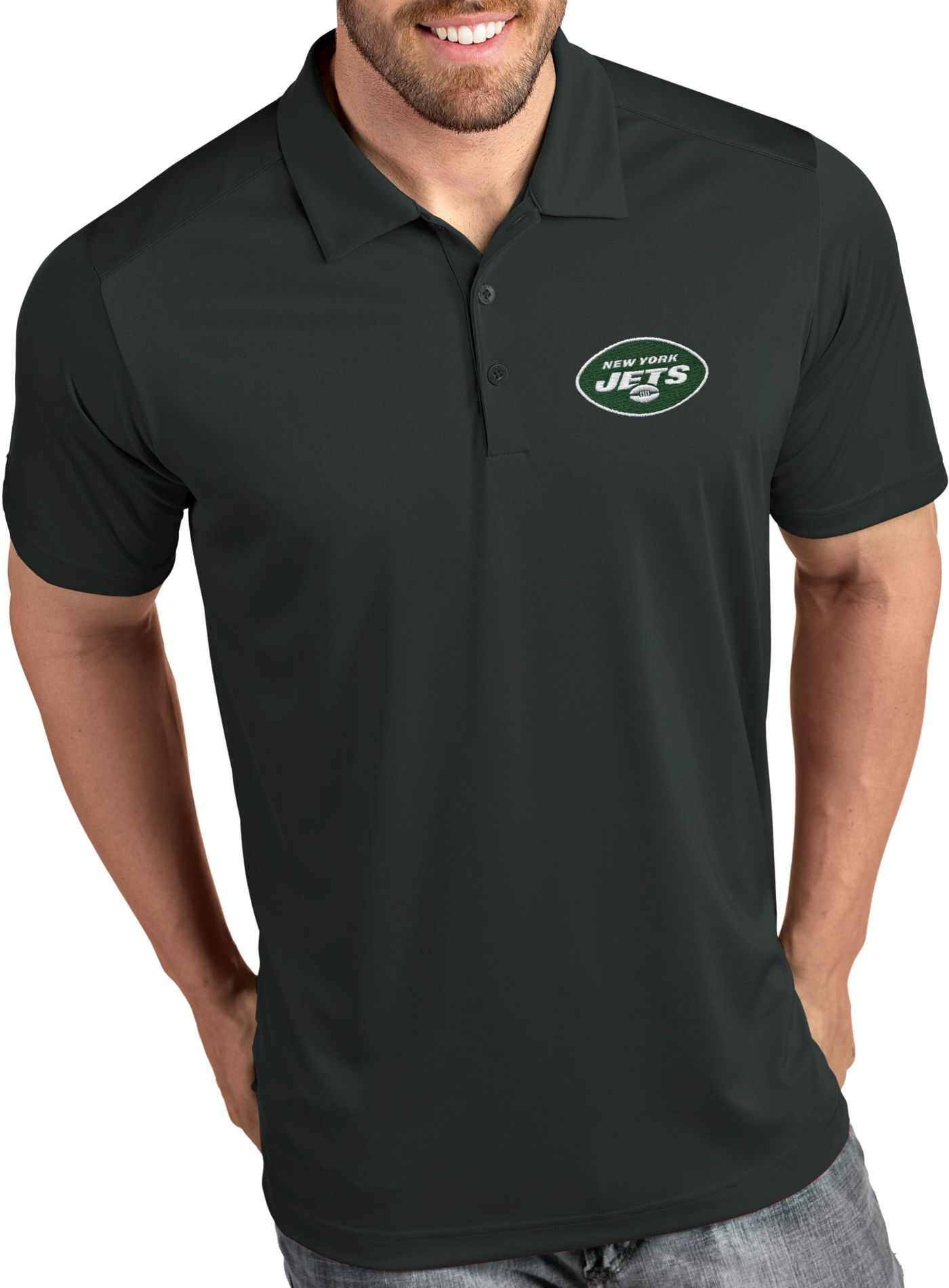 Antigua Men's New York Jets Tribute Grey Polo