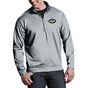 Antigua Men's New York Jets Leader Quarter-Zip Silver Pullover Top