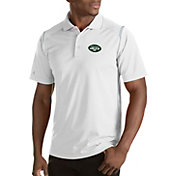 Antigua Men's New York Jets Merit White Xtra-Lite Polo