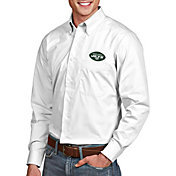 Antigua Men's New York Jets Associate Button Down White Dress Shirt