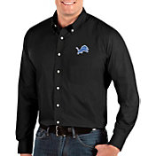 Antigua Men's Detroit Lions Dynasty Button Down Black Dress Shirt