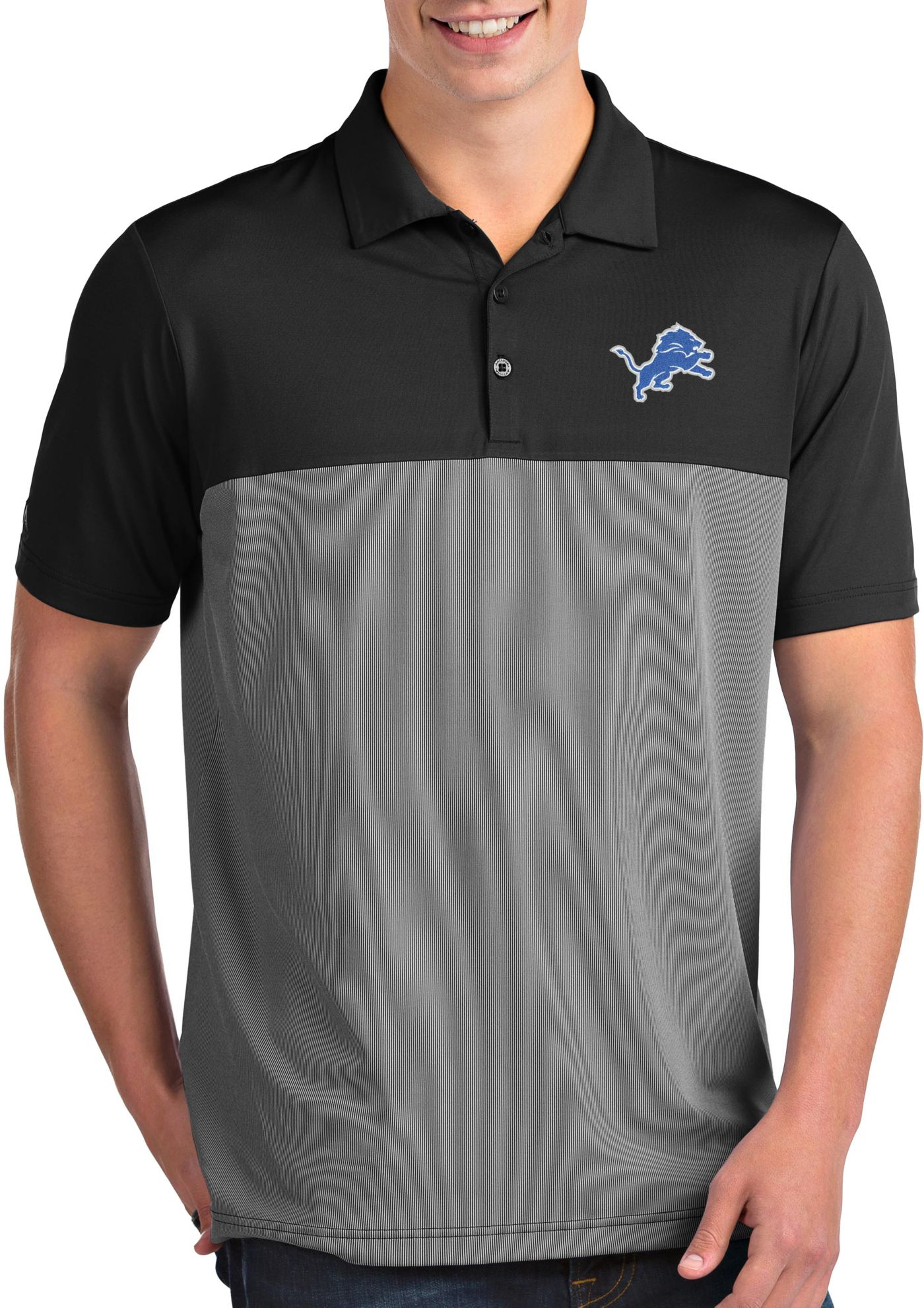 Antigua Men's Detroit Lions Venture Black Performance Polo