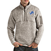 Antigua Men's Detroit Lions Fortune Quarter-Zip Oatmeal Pullover
