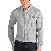 Antigua Men's Detroit Lions Structure Button Down Grey Dress Shirt