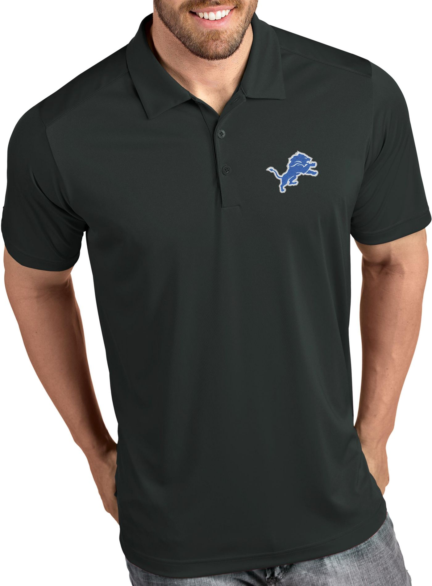 Antigua Men's Detroit Lions Tribute Grey Polo