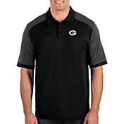 Antigua Men's Green Bay Packers Engage Performance Black Polo