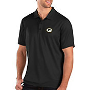Antigua Men's Green Bay Packers Balance Black Polo