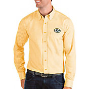 Antigua Men's Green Bay Packers Structure Button Down Gold Dress Shirt