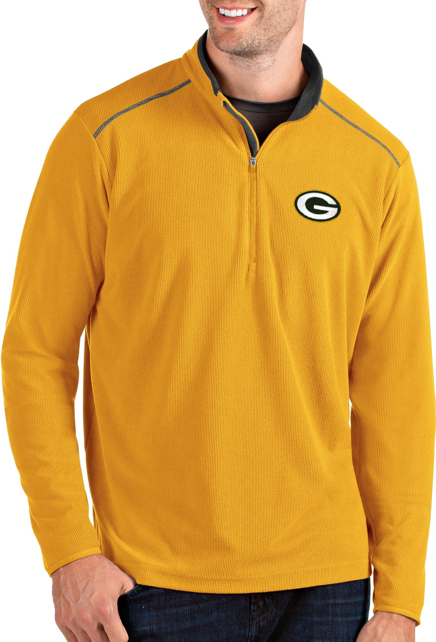 Antigua Men's Green Bay Packers Glacier Gold Quarter-Zip Pullover