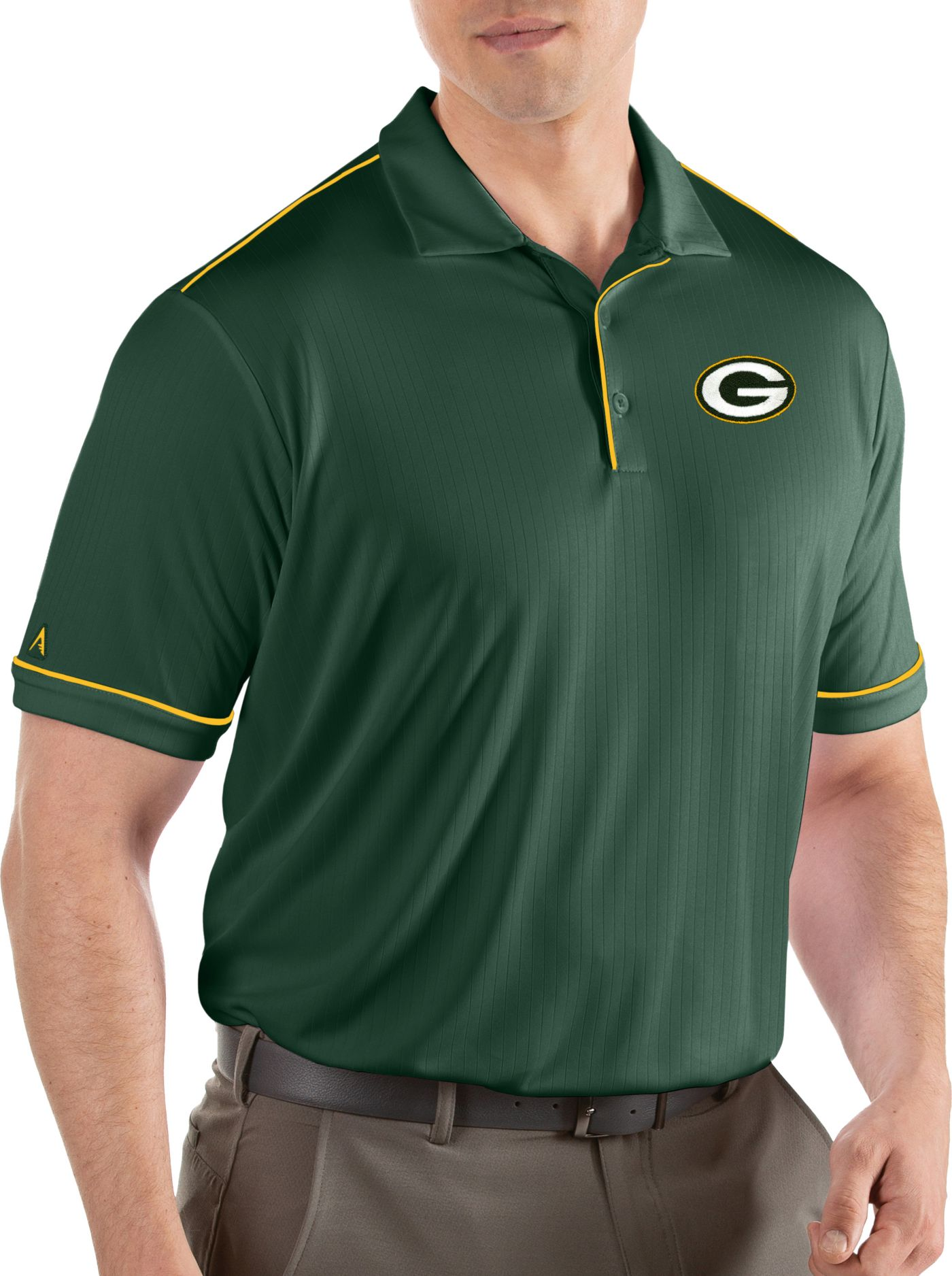 Antigua Men's Green Bay Packers Salute Green Polo