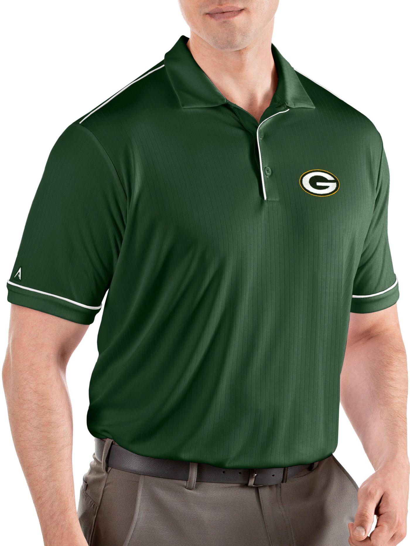 Antigua Men's Green Bay Packers Salute Green/White Polo