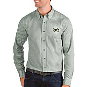 Antigua Men's Green Bay Packers Structure Button Down Green Dress Shirt