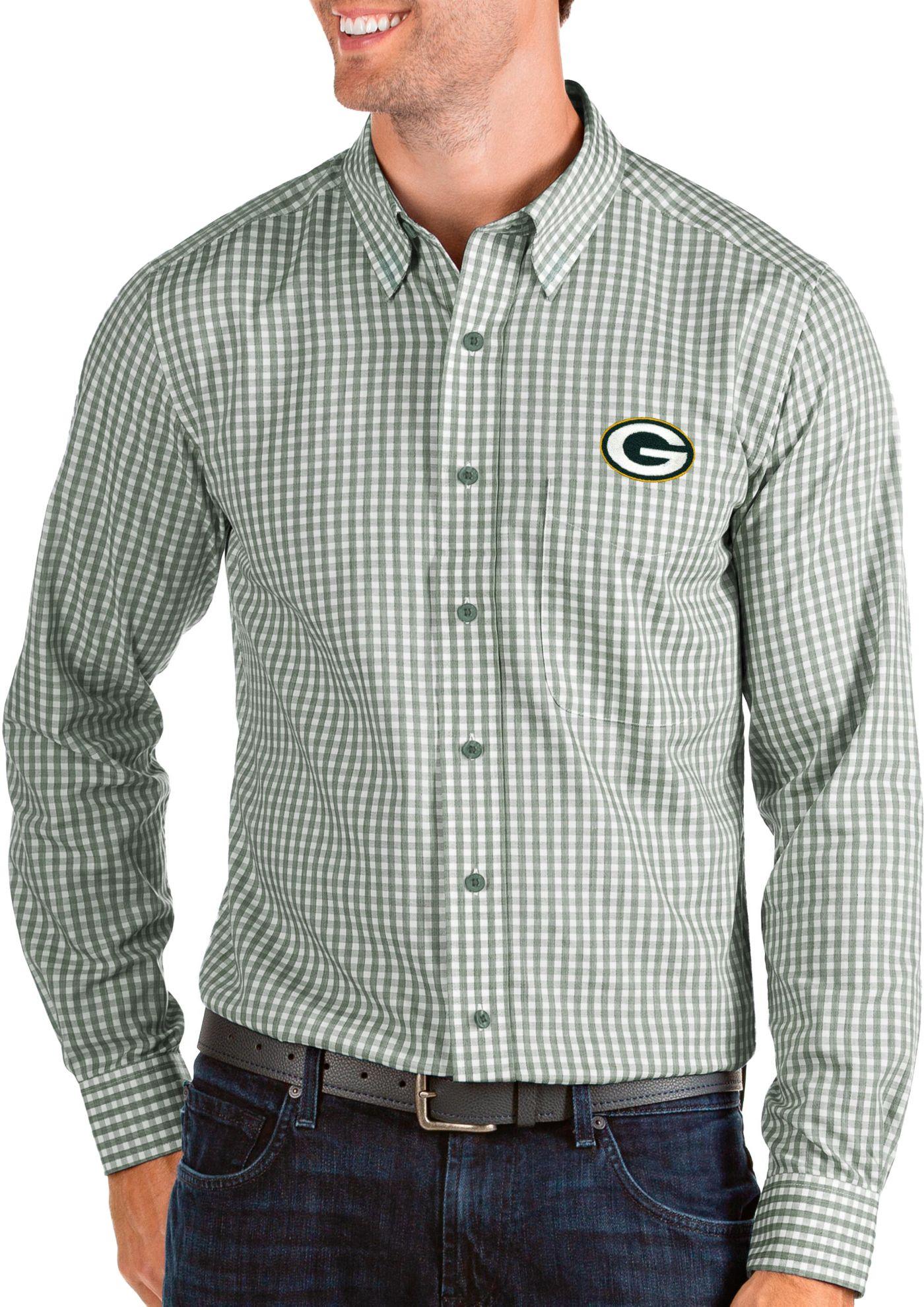 Antigua Men's Green Bay Packers Structure Button Down Green Dress Shirt