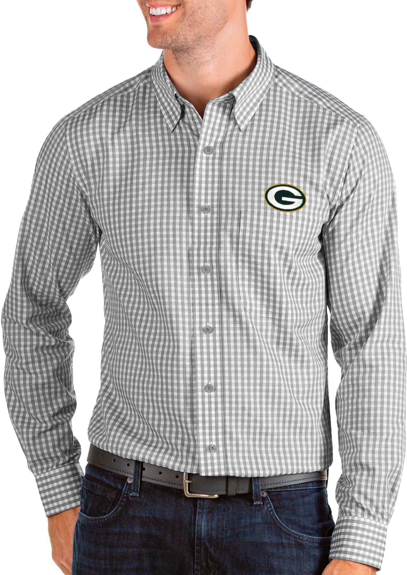 Antigua Men's Green Bay Packers Structure Button Down Grey Dress Shirt