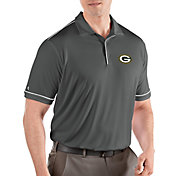 Antigua Men's Green Bay Packers Salute Grey Polo