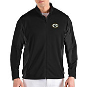 Antigua Men's Green Bay Packers Passage Black Full-Zip Jacket