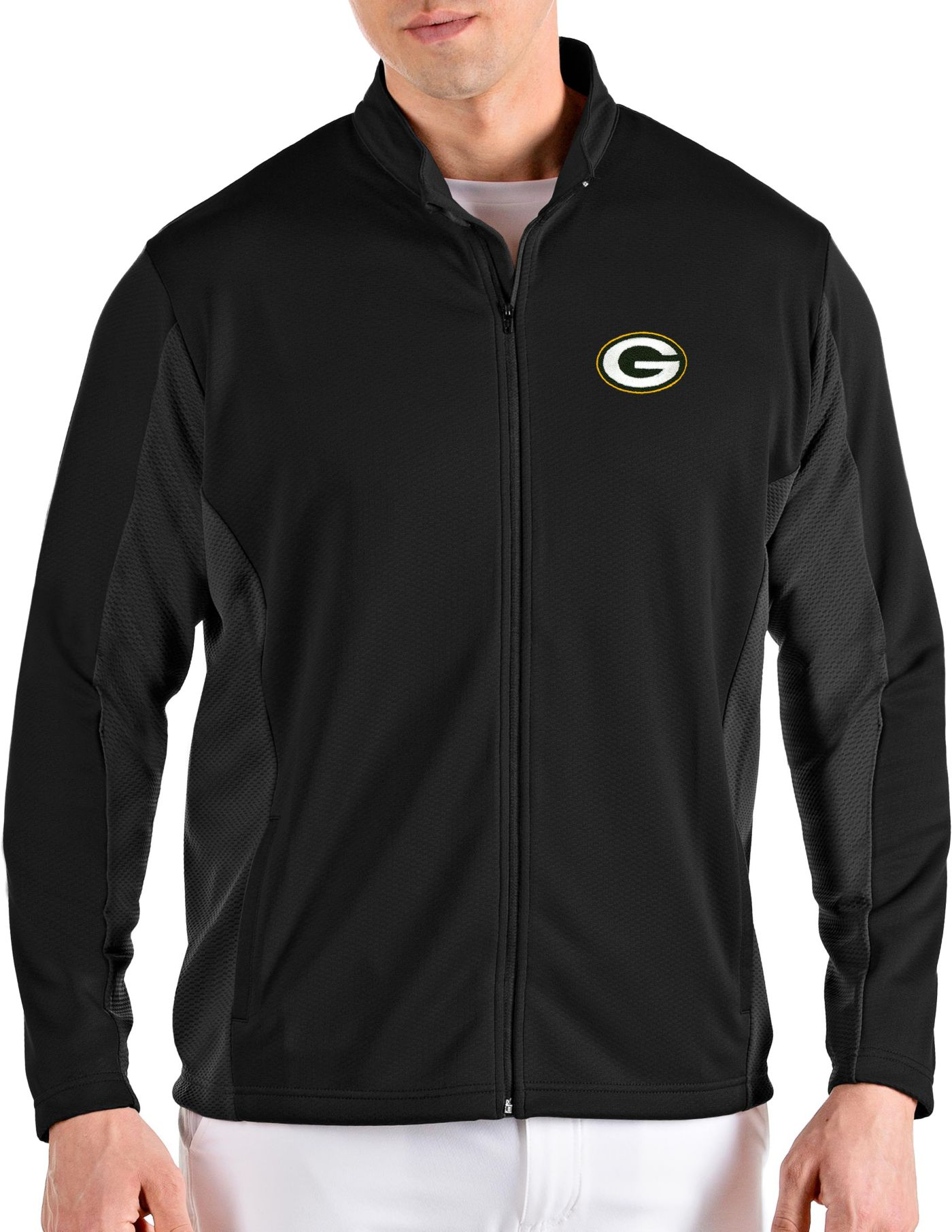 Antigua Men's Green Bay Packers Passage Black Full-Zip Jacket