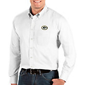 Antigua Men's Green Bay Packers Dynasty Button Down White Dress Shirt