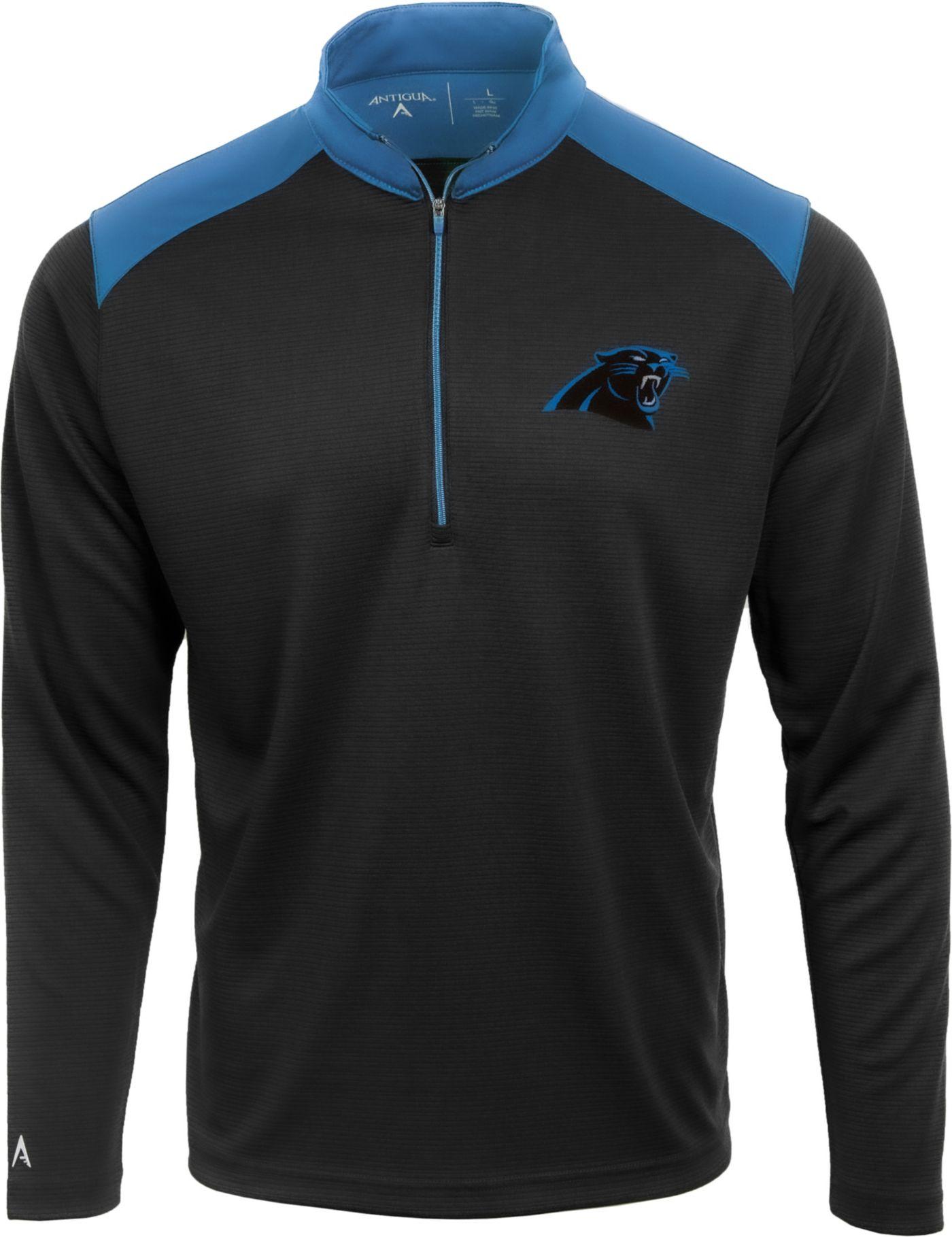 Antigua Men's Carolina Panthers Velocity Black Quarter-Zip Pullover