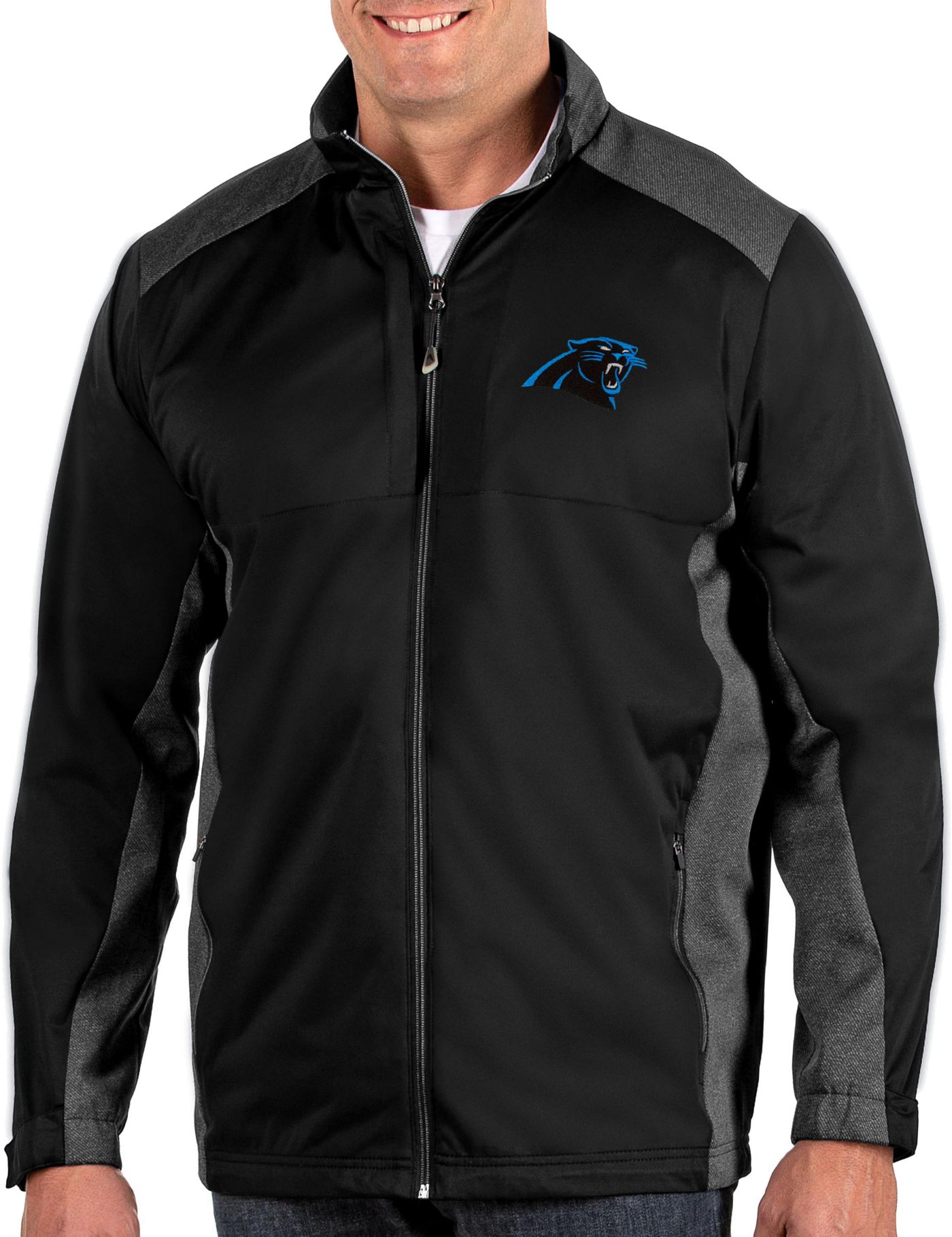 Antigua Men's Carolina Panthers Revolve Black Full-Zip Jacket