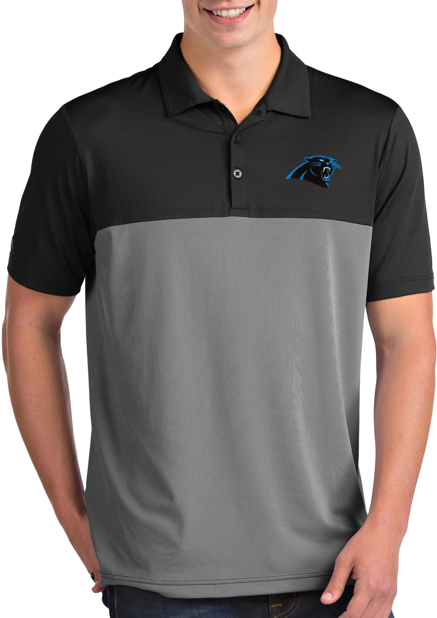 Antigua Men's Carolina Panthers Venture Black Performance Polo
