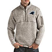 Antigua Men's Carolina Panthers Fortune Quarter-Zip Oatmeal Pullover