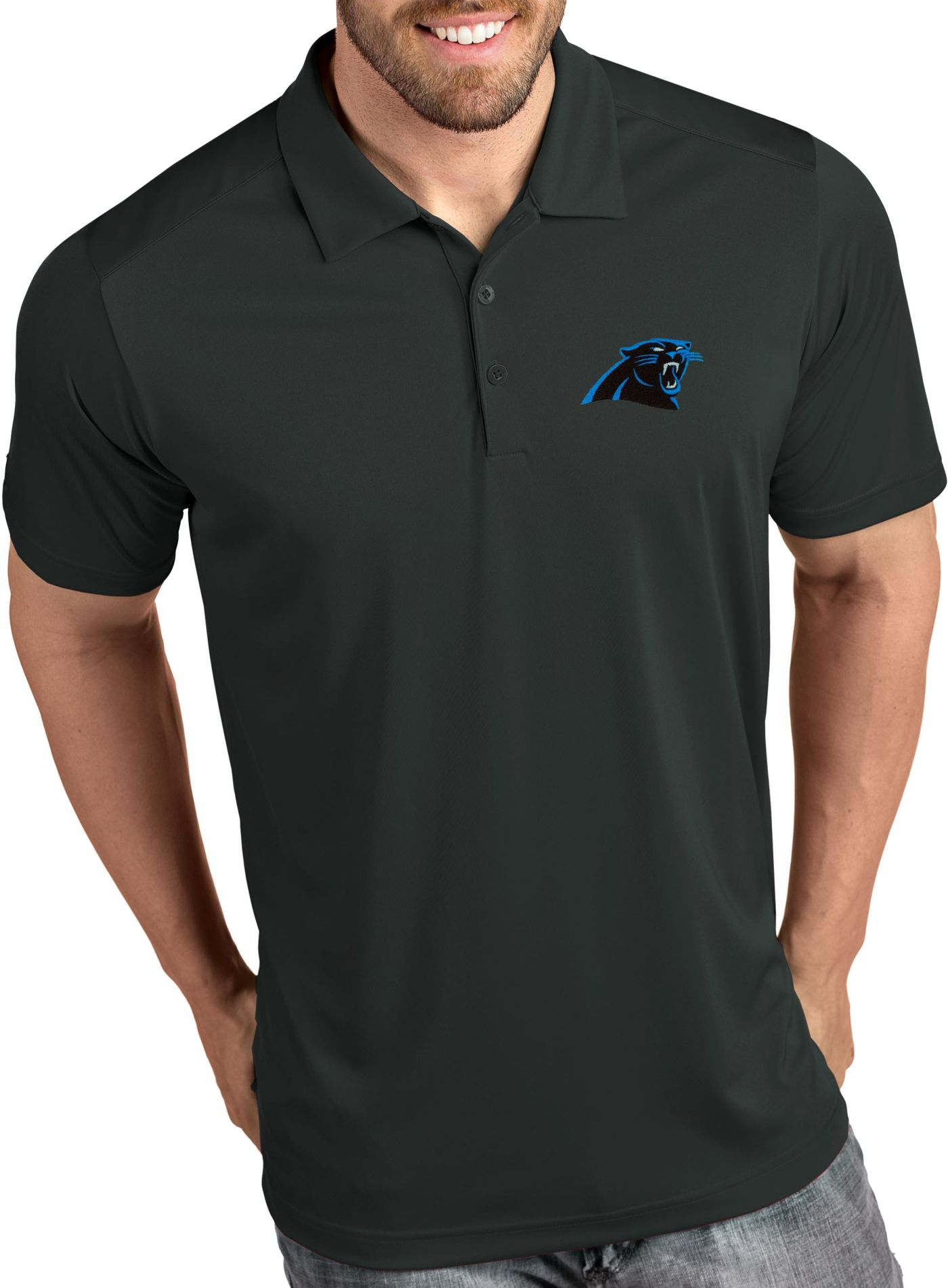 Antigua Men's Carolina Panthers Tribute Grey Polo