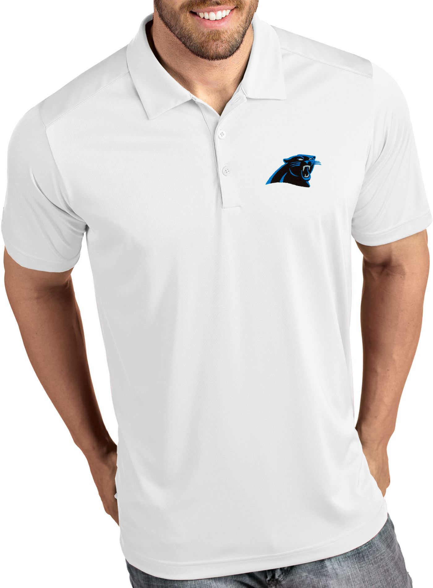 Antigua Men's Carolina Panthers Tribute White Polo