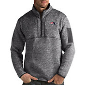 Antigua Men's New England Patriots Fortune Grey Pullover Quarter-Zip