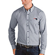 Antigua Men's New England Patriots Structure Button Down Navy Dress Shirt