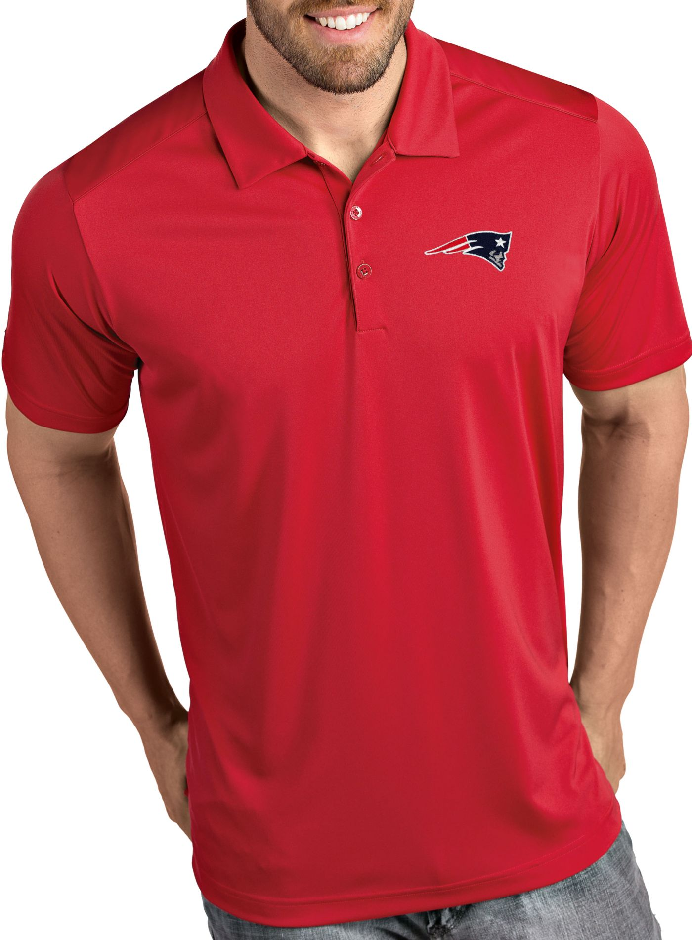 Antigua Men's New England Patriots Tribute Red Polo