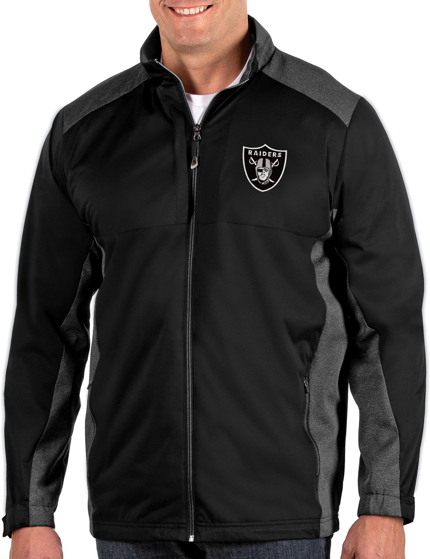 Antigua Men's Oakland Raiders Revolve Black Full-Zip Jacket