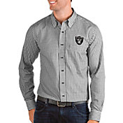 Antigua Men's Oakland Raiders Structure Button Down Black Dress Shirt