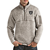 Antigua Men's Oakland Raiders Fortune Quarter-Zip Oatmeal Pullover