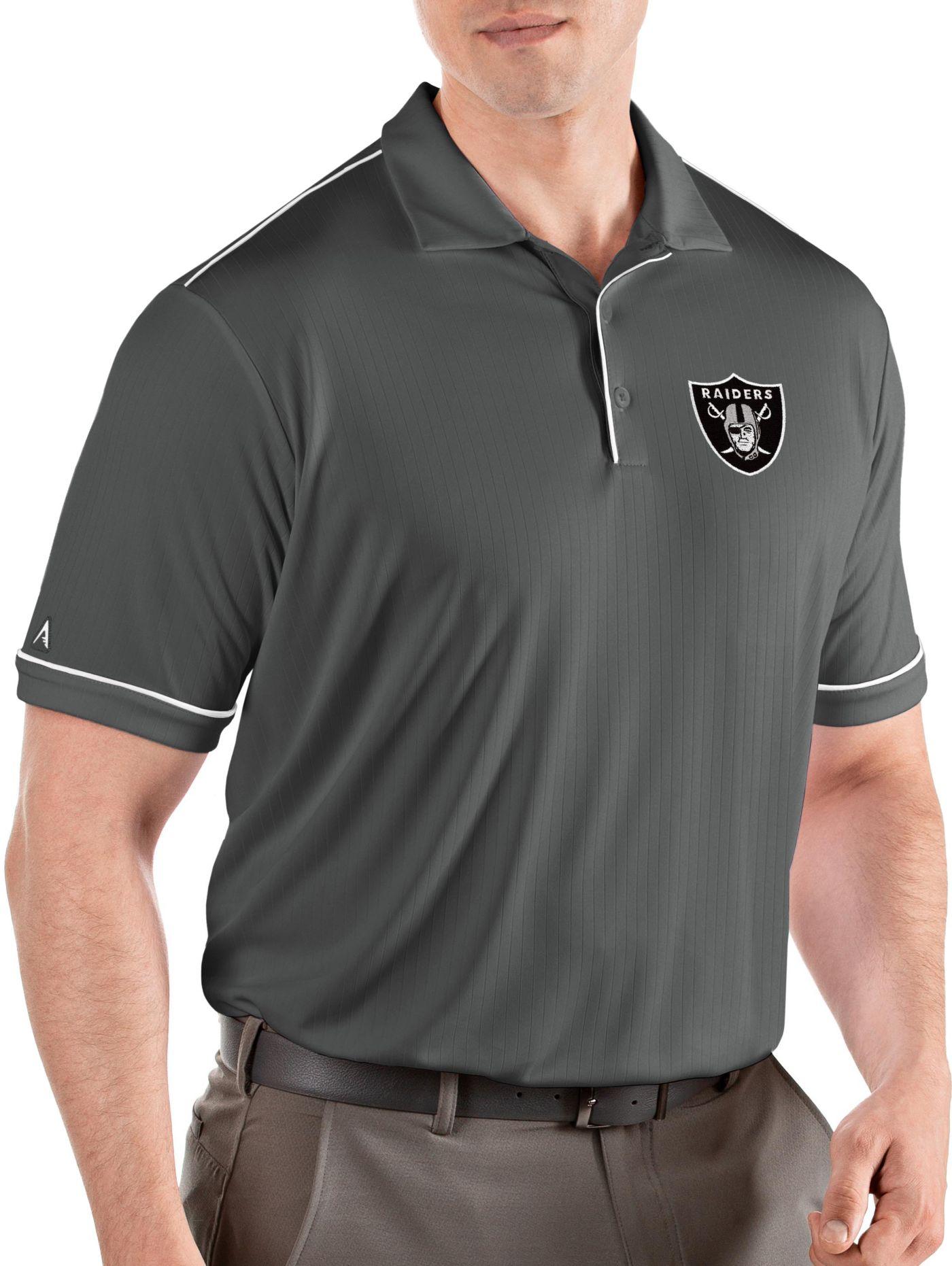 Antigua Men's Oakland Raiders Salute Grey Polo