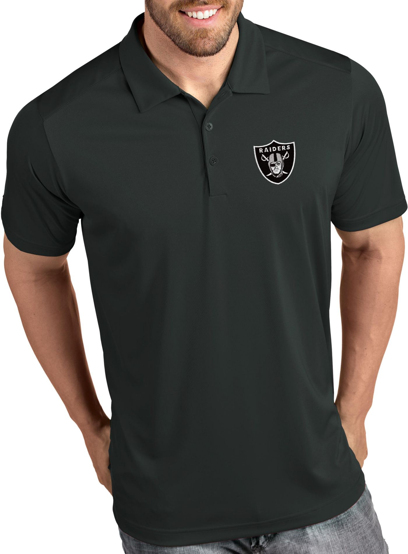 Antigua Men's Oakland Raiders Tribute Grey Polo