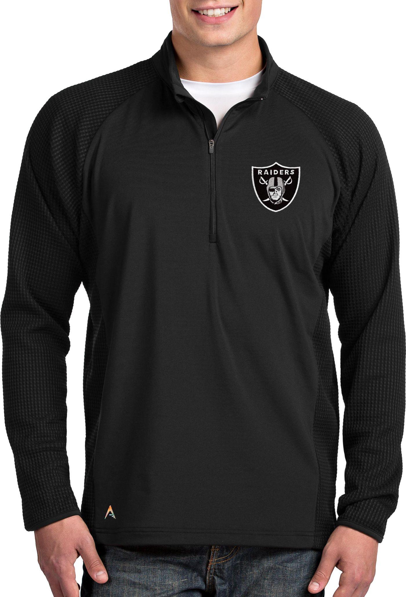 Antigua Men's Oakland Raiders Sonar Black Quarter-Zip Pullover