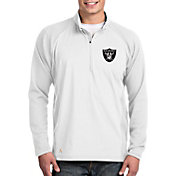 Antigua Men's Oakland Raiders Sonar White Quarter-Zip Pullover