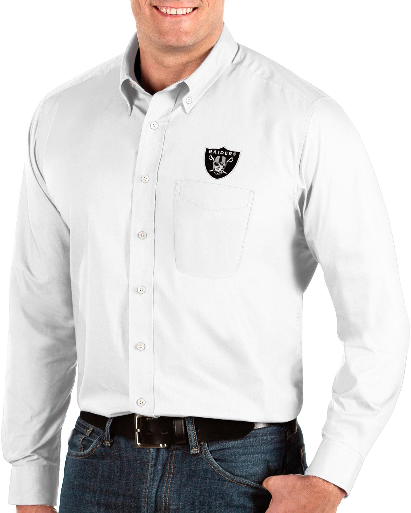 Antigua Men's Oakland Raiders Dynasty Button Down White Dress Shirt